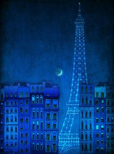 The lights of the Eiffel tower  - Paris illustration - Paris art illustration print,Paris decor,Love,turquoise,blue,France,French fine art. $20.00, via Etsy.