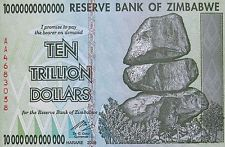 ZIMBABWE 10 TRILLION DOLLAR BILL 2008 Mint High Inflation Banknote Uncirculated 0 lacking another 1 might mean something...
