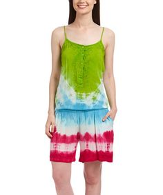 This Green Tie-Dye Embroidered Romper is perfect! #zulilyfinds
