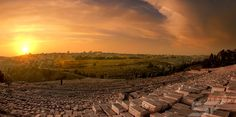 Sunset in Jerusalem - As seen from Mount of Olives.