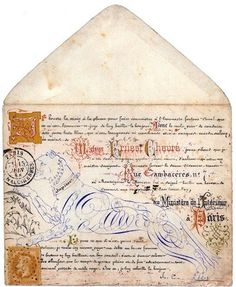 "Lovely collection of French letters and envelopes, romancing the lost art of calligraphy and leading you into a ""universe of arabesques and beautiful writing."""