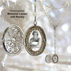 MEMORIAL ROSARY LOCKET Custom with Your Photo Handmade medal Jewelry Pendant