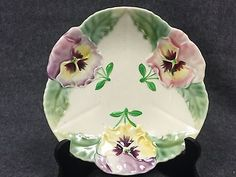 """Antique Majolica Choisy le Roi Pansies Plate 8"""""""