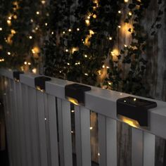 Merkury Innovations Solar Powered Outdoor Warm White Integrated LED Deck Stair Pathway Fence Lights Weatherproof - The Home Depot Fence Lighting, Backyard Lighting, Landscape Lighting, Outdoor Lighting, Lighting Ideas, Solar Powered Deck Lights, Solar Lights, Deck Stairs, Deck Railings
