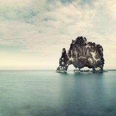 Minimal Landscape Photography - Iceland Rock Formation at Hvitserkur, Nautical Summer Blue Ocean Sea, Wall Decor - The Elephant in the Water