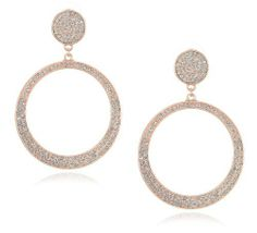 Jessica Simpson Rose Gold Tone Pave Drop Hoop Earrings Jessica Simpson. $38.00. Made in CN