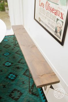Love this DIY! How to Make a Bench With Your Friends by Homepolish. Link broken - search for bench, upholstered version comes up. Instructions missing but Gallery shows how it's made. It's getting the hairpin legs that'll be the hard part. Narrow Bench, Making A Bench, Diy Bench, Bench Seat, Diy Design, Interior Design, Home Projects, Apartment Projects, Interior Inspiration