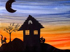 Halloween Silhouette Artwork - Things to Make and Do, Crafts and Activities for Kids - The Crafty Crow