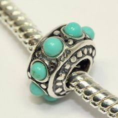 1 x 925 Sterling Silver Charm Flower Bead W/Turquoise by Adabele