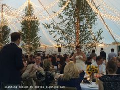 Ribbons of twinkle lights installed in a sailcloth tent by Seitel Lighting LLC Wedding Tent Lighting, Tent Wedding, Twinkle Lights, Twinkle Twinkle, Sailing Outfit, Lighting Design, Ribbons, Canopy, Greenery