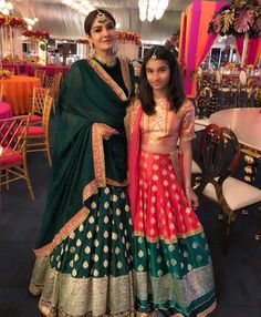 Spotted: with daughter Rasha Thadani go for custom-made traditional looks. Shop Manish Malhotra at Carma by sending us a screenshot at Kids Lehenga, Indian Lehenga, Indian Saris, Indian Ethnic, Indian Attire, Indian Wear, Indian Style, Indian Dresses, Indian Outfits