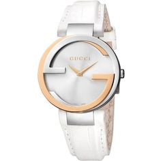 Gucci Watch, Women's Swiss Interlocking White Alligator Leather Strap... ($2,295) ❤ liked on Polyvore