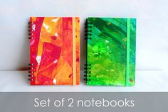 Notebook Set of Two Green and Red  Pocket  por kinmcuadernos, €22.00