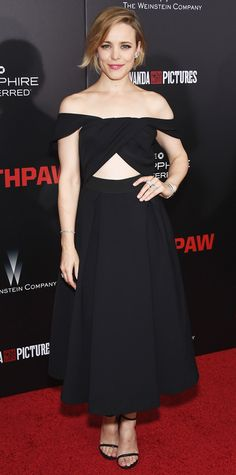 Rachel McAdams wears a cut-out Self-Potrait LBD to the Southpaw premiere.