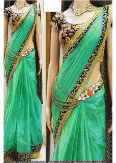 Bollywood Replica - Party Wear Green Saree - 1024-D