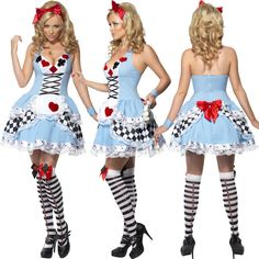 Smiffys Womens Harlequin Hold Ups Ladies Halloween Fancy Dress Costume Accessory