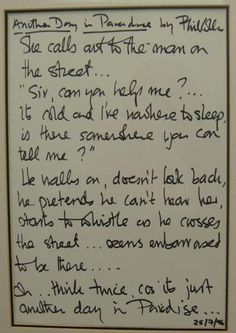 Phil Collins Handwritten Signed Lyrics to Another Day in Paradise  $ 9,314.00