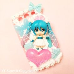 Custom Kawaii Decoden Vocaloid Hatsune Miku phone case for iPhone 4/4s, 5, samsung galaxy S2 S3 S4, Ipod Touch