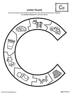 Letter C Puzzle Printable Worksheet.The Letter C Puzzle is perfect for helping students practice recognizing the shape of the letter C, and it's beginning sound, along with developing fine-motor skills. Letter C Preschool, Letter C Crafts, Letter C Activities, Preschool Prep, Autism Activities, Preschool Lessons, Preschool Crafts, Letter C Worksheets, Printable Alphabet Letters