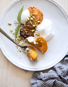 roasted wine soaked peaches + plums with whipped aquafaba | what's cooking good…