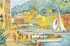 Michele Cascella - REGATTA AT PORTOFINO, Oil on canvas