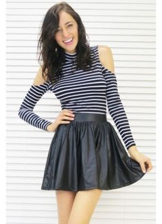 Skirt Leather Look Skater Black