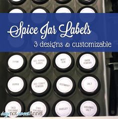 Spice Jar Labels - template for circle sticker paper, customizable and with three designs! | Saynotsweetanne.com via Somewhatsimple.com | #d...