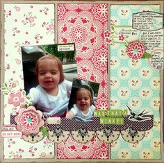 love this layout! 3 strips PP + border strips, embellishments. This would make a great scrapbook page starting point.