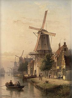 Buy online, view images and see past prices for Cornelis Christiaan Dommersen (Dutch, Invaluable is the world's largest marketplace for art, antiques, and collectibles. Great Paintings, Beautiful Paintings, Beautiful Landscapes, Landscape Paintings, Windmill Art, Old Windmills, Dutch Windmill, City Painting, Painting & Drawing