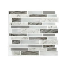 Stick-It Tiles Marble Grey OBL Peel and Stick It 11.25X10 8 pack The... ($40) ❤ liked on Polyvore featuring home and home improvement