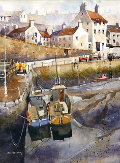 Crail Harbor at Low Tide- Scotland by Iain Stewart Watercolor