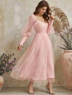 Mesh Dress, Dress P, Bridesmaid Dresses, Wedding Dresses, Latest Dress, Flocking, Ruffle Sleeve, Pretty Dresses, Lace Detail