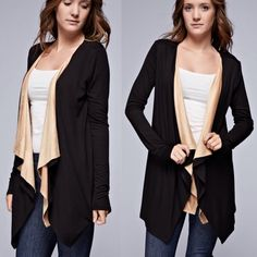 """""""Nocturnal"""" Faux Suede Cardigan Black cardigan with light tan faux suede contrast. Super soft and cute! Brand new with tags. True to size. Bare Anthology Sweaters Cardigans"""