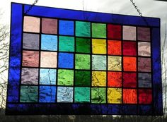 Stained Glass Panel window rainbow pattern by ravenglassgirl, $125.00