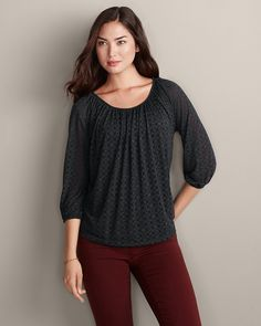 Burnout Gathered Top | Eddie Bauer | super cute, but will need a cami underneath - very sheer