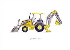 "Backhoe Loader construction watercolor print, 8x10"""