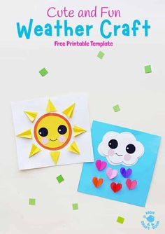 Make these cute paper weather crafts for kids. These are adorable as a Spring craft, to go with weather topics or for fun all year round. Camping Crafts For Kids, Summer Camp Crafts, Paper Crafts For Kids, Spring Crafts, Projects For Kids, Craft Projects, Spring Projects, Summer Diy, Toddler Crafts