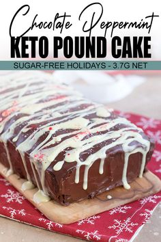 A stunning sugar-free holiday dessert! This keto Chocolate Peppermint Loaf Cake will blow your guests away. So rich, dense, and chocolate-y, no one will believe it's low carb and grain-free. #chocolatepoundcake #ketocake #lowcarbrecipes
