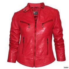 NJ zenska crvena kozna jakna