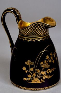 Black hyalith jug decorated with enamel and gold,Glassworks of the Count of Buquoy, Maker Southern Bohemia, ca 1825