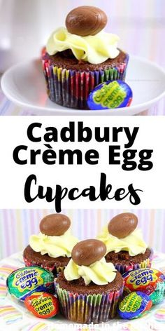 These easy Cadbury Creme Egg Cupcakes are the perfect Easter dessert! Your favorite Easter chocolate candy is stuffed inside a chocolate cupcake and topped with a light and fluffy buttercream! Easy Easter Desserts, Easy Desserts, Delicious Desserts, Chocolate Cupcakes Filled, Chocolate Desserts, Homemade Cake Recipes, Best Dessert Recipes, Cupcake Recipes From Scratch, Egg Cupcakes