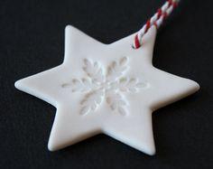 Porcelain Christmas ornaments 3 star snowflake by cornishandslim
