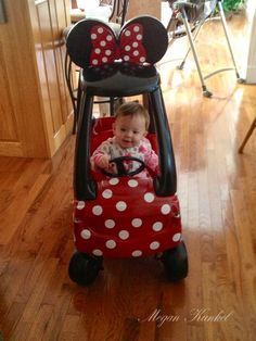 Toy car makeover, adorable Minnie Mouse coupe! :-)