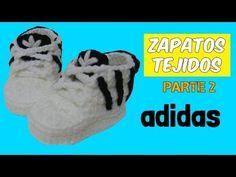 Zapatitos adidas tejidos a crochet 3-6 meses  | parte 2/2 - YouTube