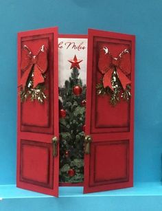 Christmas Doors by jandjccc – Cards and Paper Crafts at Splitcoaststampers – Christmas DIY Holiday Cards Homemade Christmas Cards, Christmas Cards To Make, Christmas Paper, Homemade Cards, Holiday Cards, Christmas Crafts, Creative Christmas Cards, Rustic Christmas, Christmas Greetings