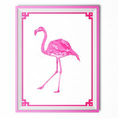 #Cocoscollections Palm Beach Chic Hot Pink Flamingo Art Print - Right