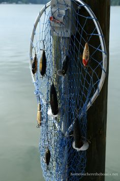 fishing net with lures as display