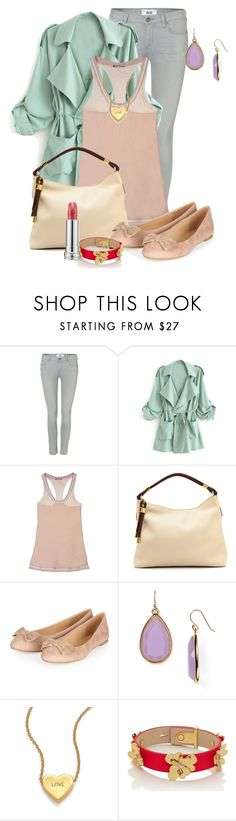 """""""Minty Gray"""" by enchantedtaylorswifty ❤ liked on Polyvore featuring Paige Denim, STELLA McCARTNEY, Michael Kors, Kate Spade, Lancôme, Pink, mint, gray, nudelips and Spring2015"""