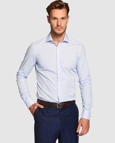 Camisa de hombre slim de cuadros azul