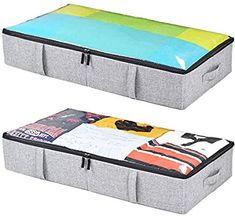 online shopping for storageLAB Underbed Storage Containers - - Woven Fabric Plastic Structure (Grey) from top store. See new offer for storageLAB Underbed Storage Containers - - Woven Fabric Plastic Structure (Grey) Under Bed Storage Containers, Under Bed Shoe Storage, Storage Bins With Lids, Shoe Storage Organiser, Storage Bags For Clothes, Diy Storage Boxes, Plastic Container Storage, Bag Storage, Underbed Storage Ideas